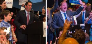 Photo of Jared Polis (right) by Evan Semón. Photo of Walker Stapleton (left) 通过 Corey Hutchins.